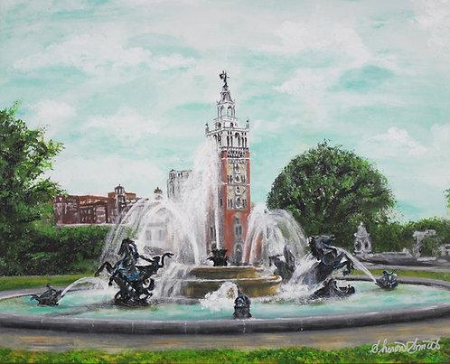 JC Nichols Fountain  11X14 MATTED PRINT