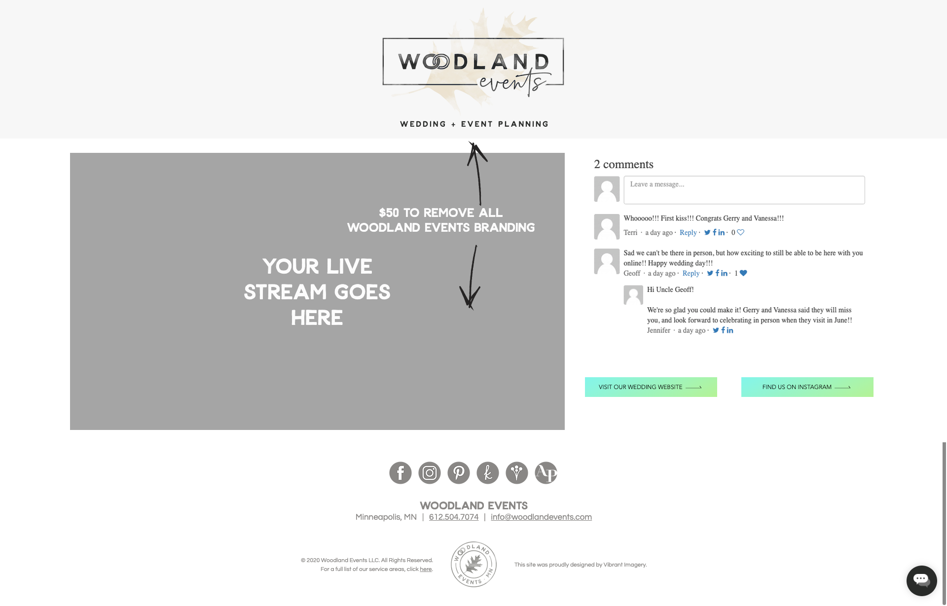 Livestream template with comments and links.