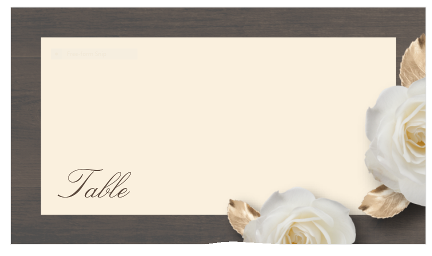 Table Number Blank Flowers Gold Leaves