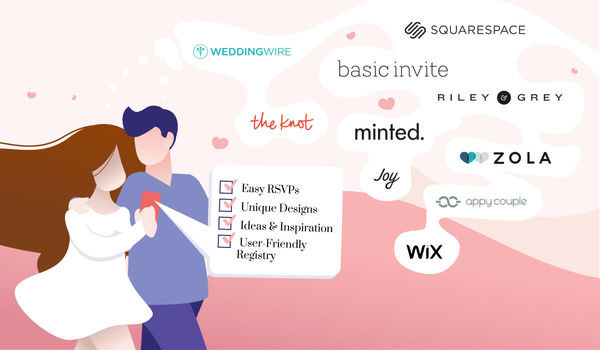 Infographic displaying wedding website hosts including WeddingWire, The Knot, Squarespace, Basic Invite, Riley & Grey, Minted, Joy, Zola, Appy Couple, and Wix