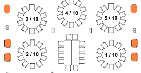 Drawing of King's Head Table layout