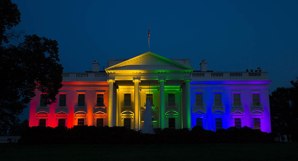 President Obama's white house lit in the colors of the rainbow following the supreme court's history making decision to legalize same sex marriage.