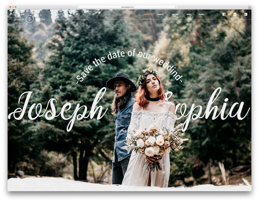 Wedding website homepage for Joseph and Sophia