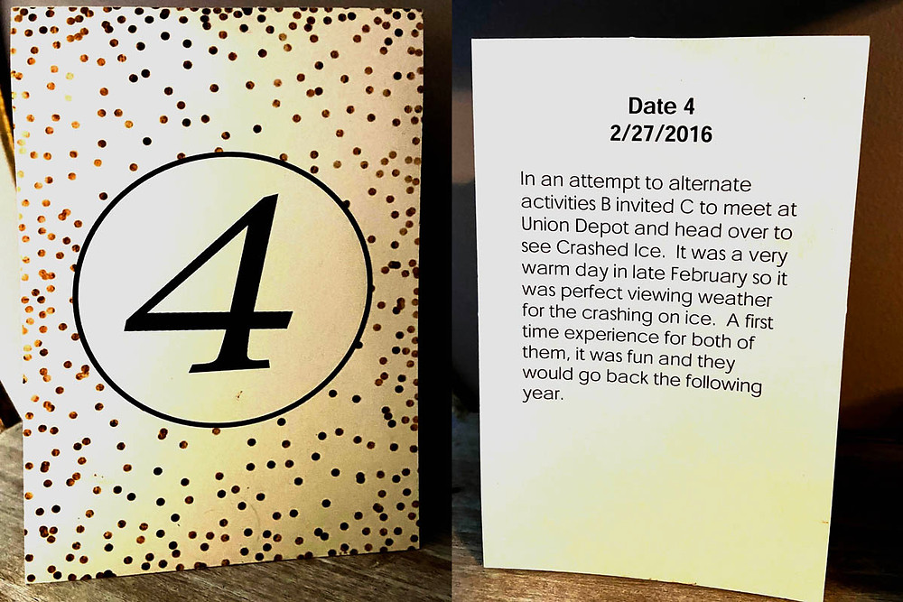 Table number with description of a couple's fourth date together.
