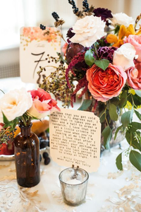 Flowers and table number with quote decoration