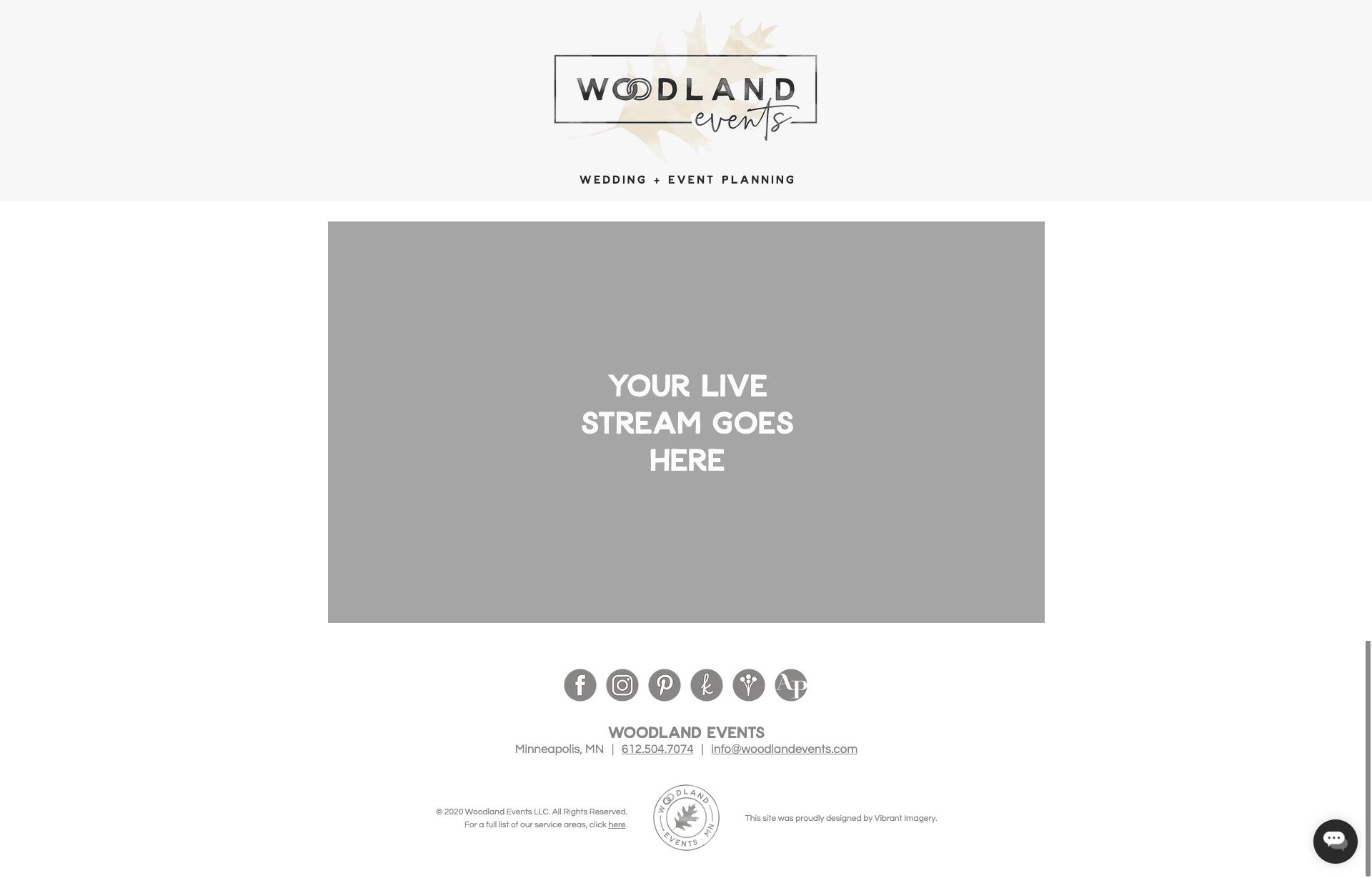 Standard Woodland Events Livestream website template.