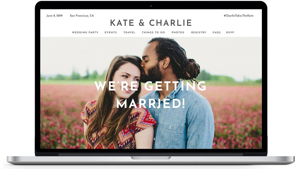 Kate and Charlie wedding website displayed on a laptop