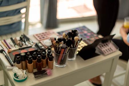 makeup station set out for application