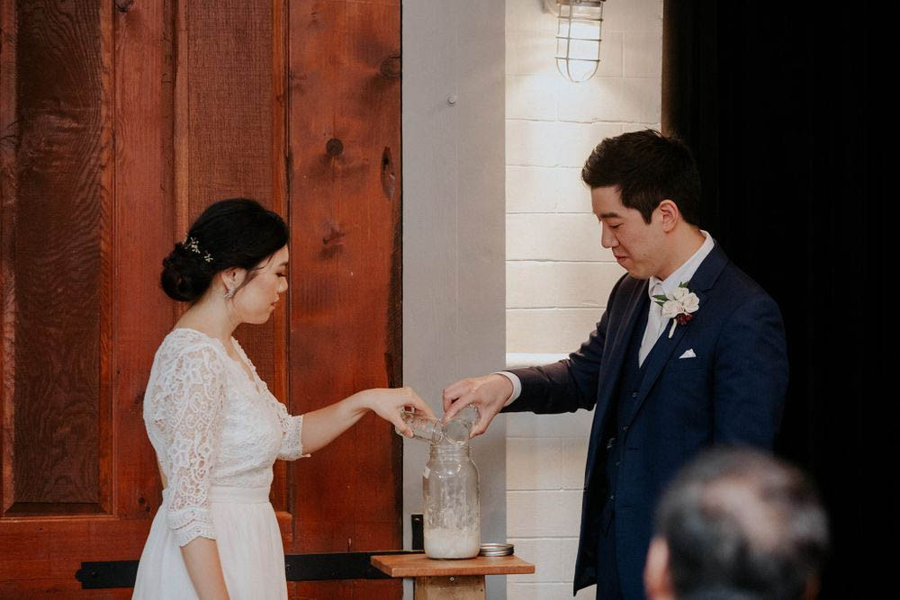 Bride and groom create sourdough starter for their unity ceremony.