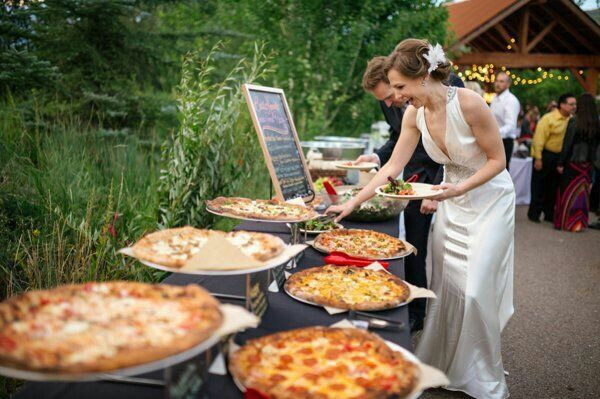 Bride Pizza Buffet Wedding