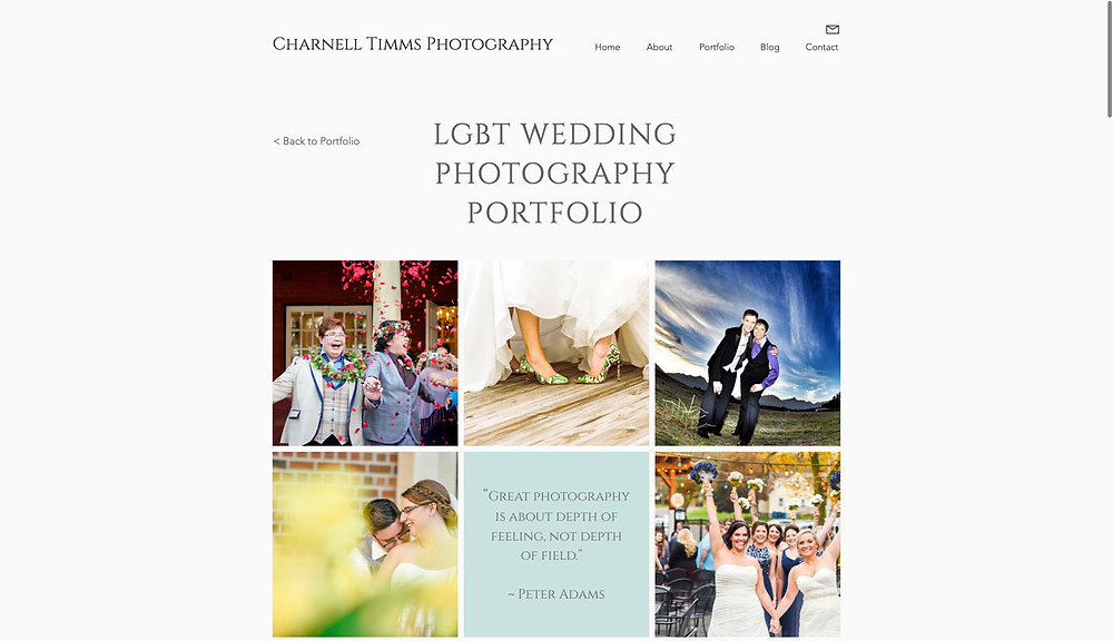 Screenshot of LGBT wedding photography from Charnell Timms Photography website.