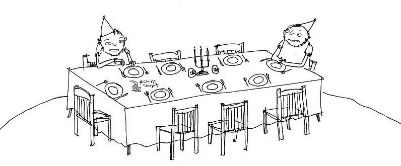 Awkward Dining Two Men Line Art