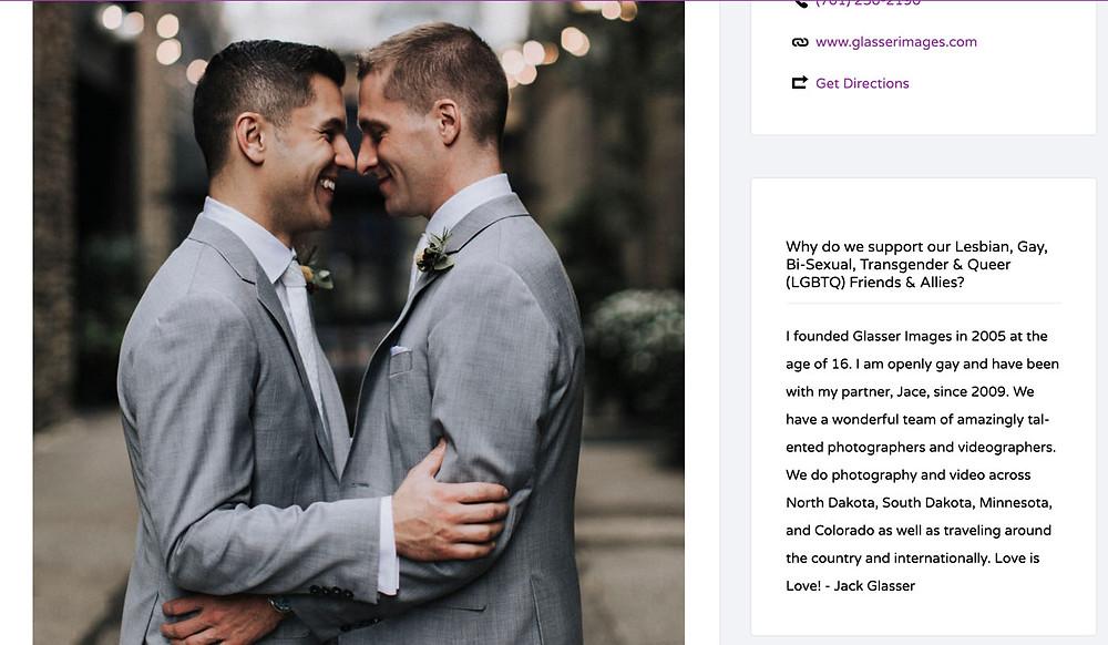 Screenshot of Glasser Images profile at Pridezillas website.