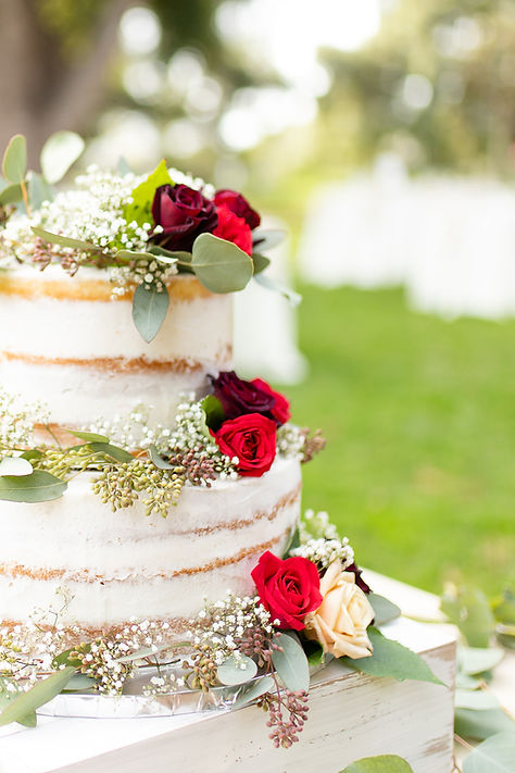 Naked wedding cake with red roses at outdoor reception in Minnesota