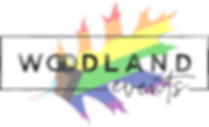 Woodland Events logo with LGBTQ+ pride flag