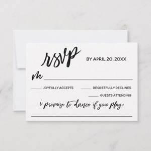 RSVP card with line for music request
