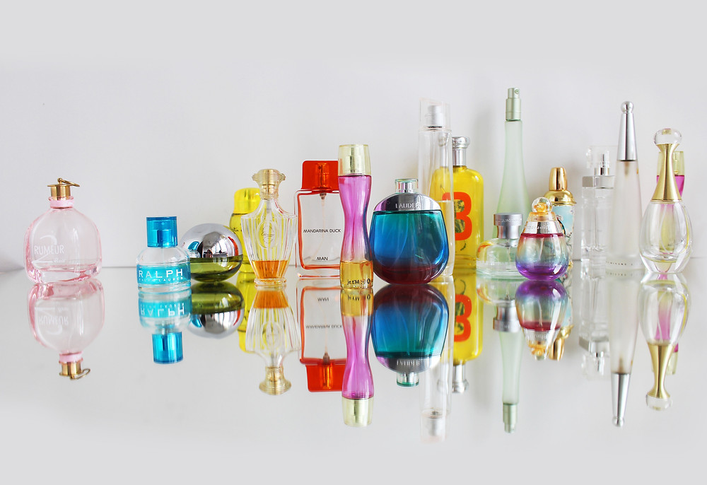 colorful perfume bottles
