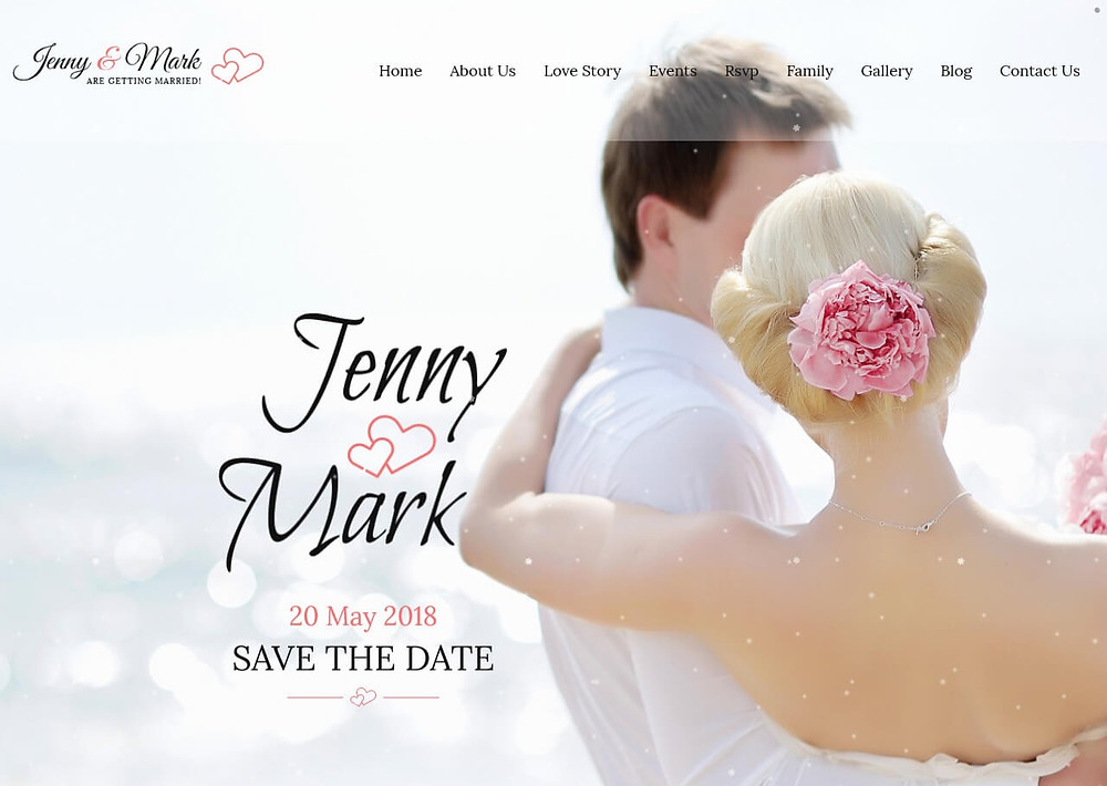 Wedding website homepage for Jenny and Mark