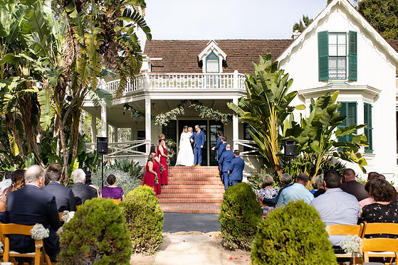 Bride and groom walking down the aisle at Rancho La Patera and Stow House in Goleta, California