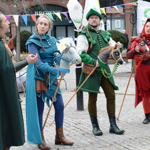 Friar Tuck, Maid Marian, Robin Hood and Scarlet Will costumes by Emily Martinelli for FOTE 2018. Hobby horses by Emma Brierley.