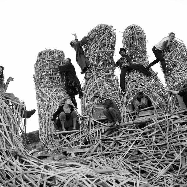 The Helping Hand, built in collaboration with Helping Hand Burn Crew for Kiwiburn Arts Festival 2016