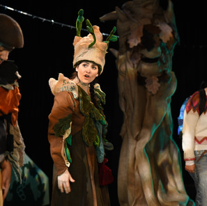 Dotteral, Spirit of the Mountain and CJ costumes by Emily Martinelli for Sno Snow, Scottish Youth Theatre 2018