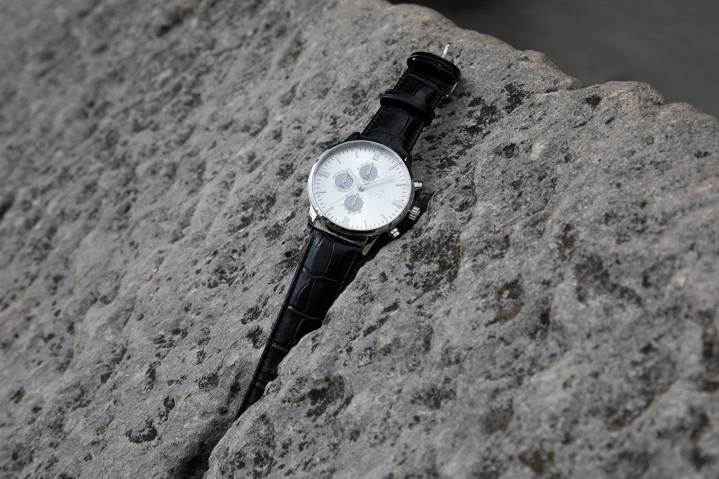 Chronograph in Black in grey rock.jpg