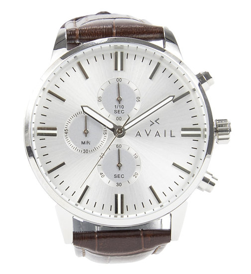 The Chronograph - Silver in Brown