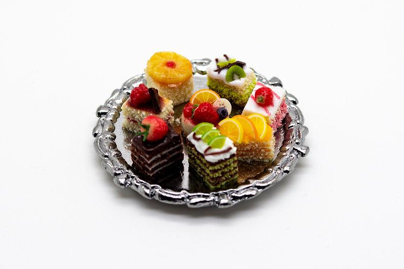 mixed tray of cakes