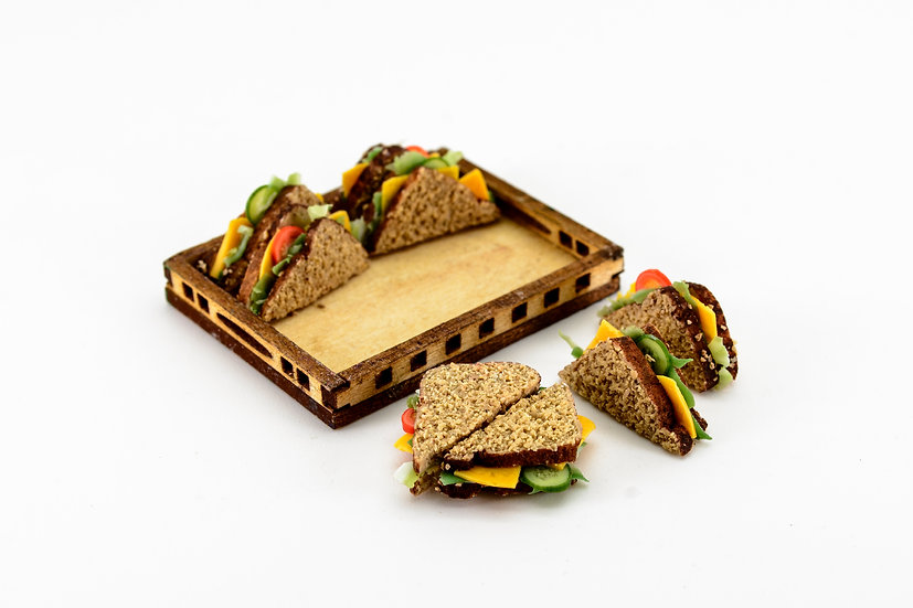 tray of loose sandwiches