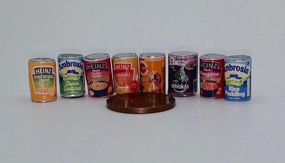 set of 8 x tins (caned food )empty