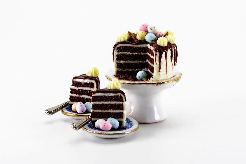 chocolate layer cake easter mini eggsA