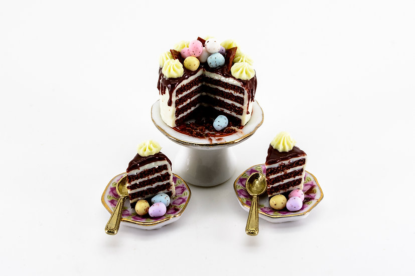 chocolate layer cake with mini easter eggs B