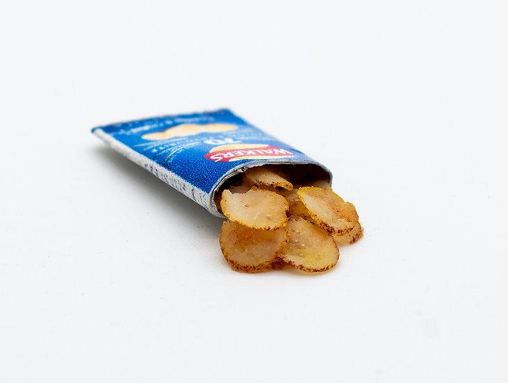 open pack of blue crisp