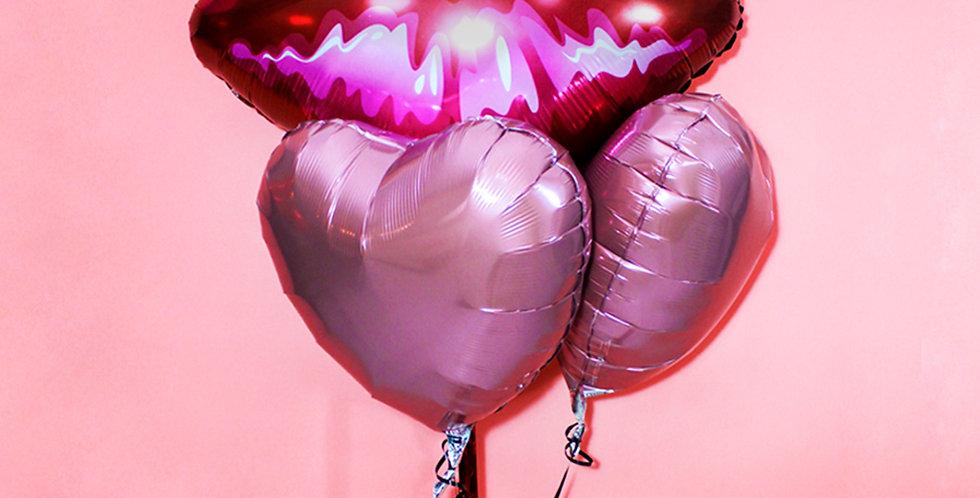Kisses and Heart Foil Balloon Bouquet