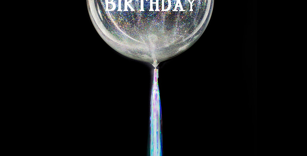 Personalized Holo Moondust Whimsical Balloon with Fringe