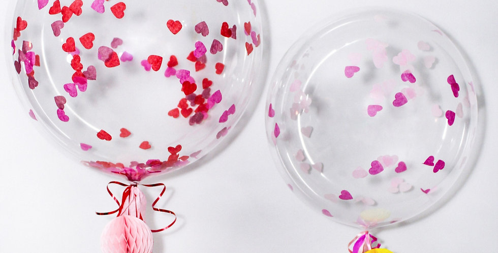 20 Inch and 24 Inch Heart Confetti Balloons