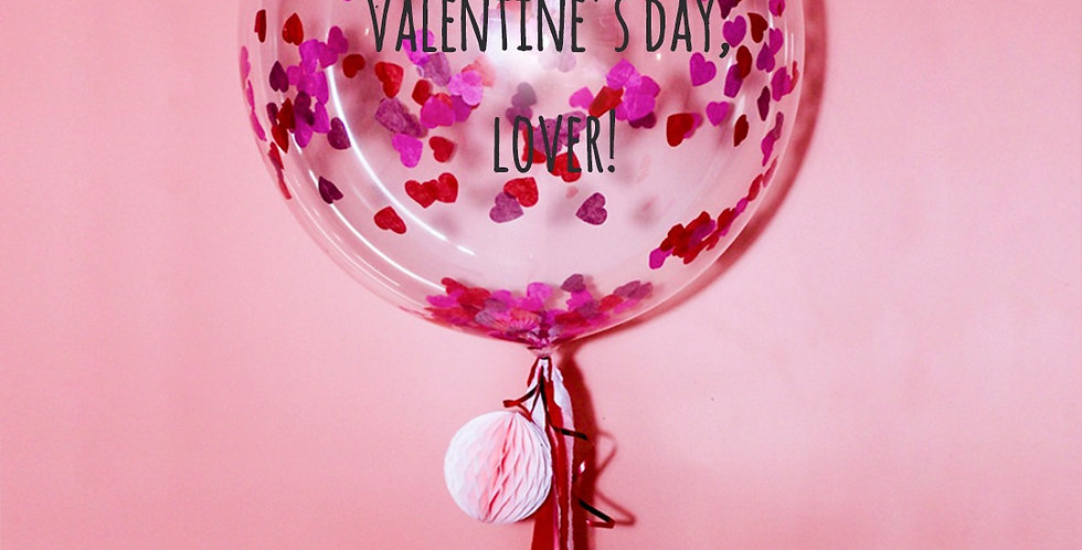 Valentine's Day 24 Inch Personalized Heart Shaped Confetti Balloon