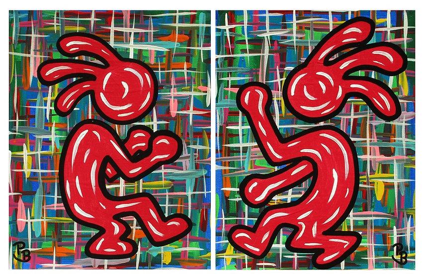 Dancing Red Men (Diptych)