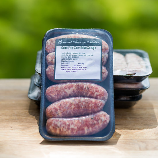 Spicy Italian gluten free sausages - approx 450g