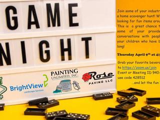 Game night- Thursday April 9th