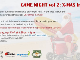 Game Night: Vol 2- Christmas in April! Thursday April 16th at 4:30-6PM