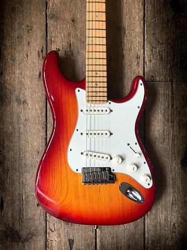 2002 Fender American Deluxe Stratocaster in Cherry/Sienna burst