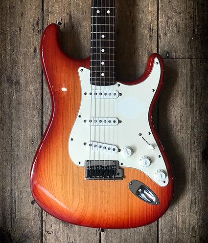 2008 Fender American Standard Stratocaster in Sunburst finish.