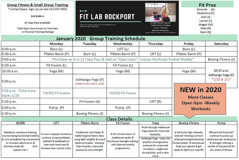 Fit Lab January 2020 Group Fitness Sched