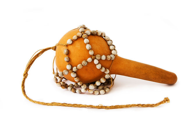 Original West African maraca (rattle) isolated on white