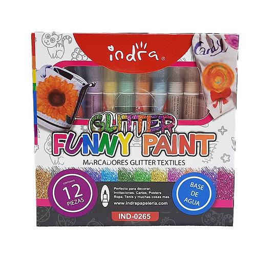 12 Marcadores Glitter Funny Paint Indra Plumones Decoración