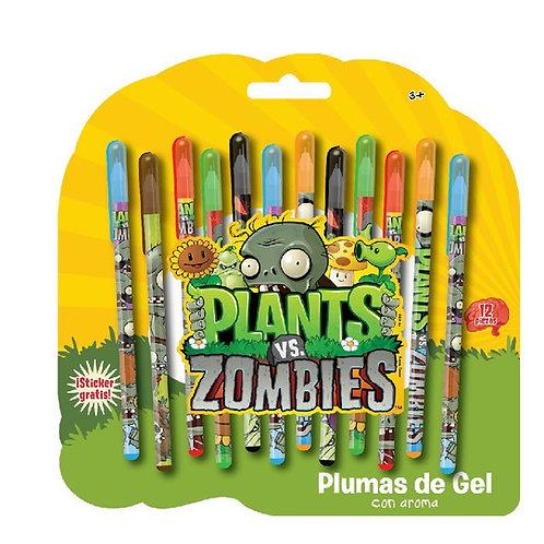 Plumas de Gel decoradas Plantas vs Zombies