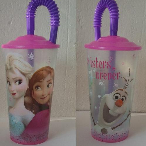 Vaso lenticular con tapa y popote Frozen