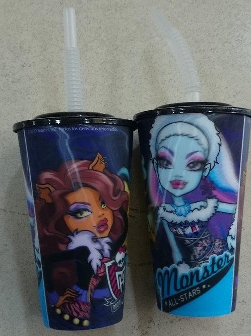 Vaso lenticular con tapa y popote Monster High